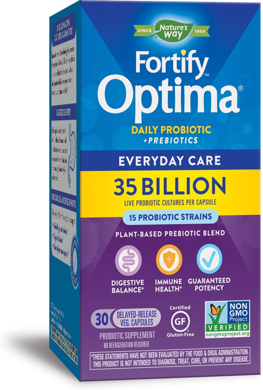 Nature's Way Once Daily Fortify Optima 14 Probiotic Strains True Potency 35  Billion CFU, 30 Vegetarian Capsules (Refrigeration Required to Maintain  Maximum Potency) (Pack of 2): Health & Personal Care - Amazon.com