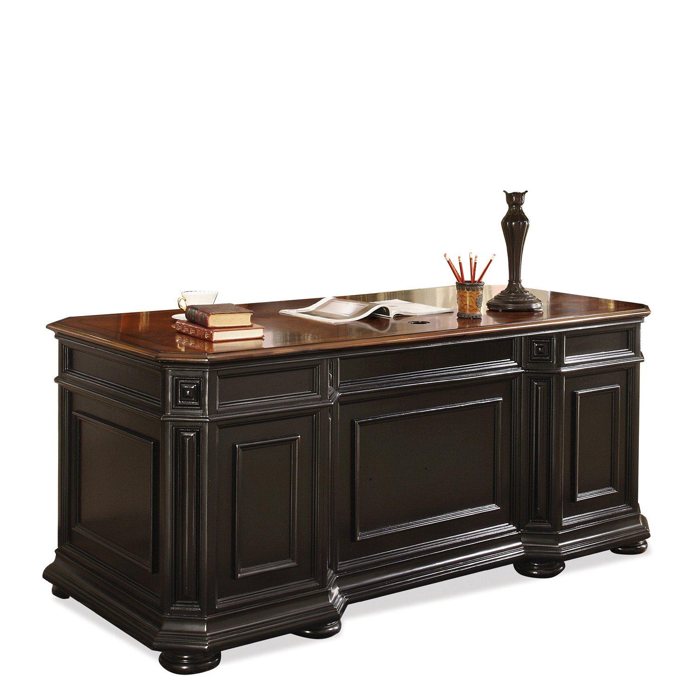 amazoncom riverside furniture allegro executive desk in rubbed black kitchen u0026 dining - Riverside Furniture