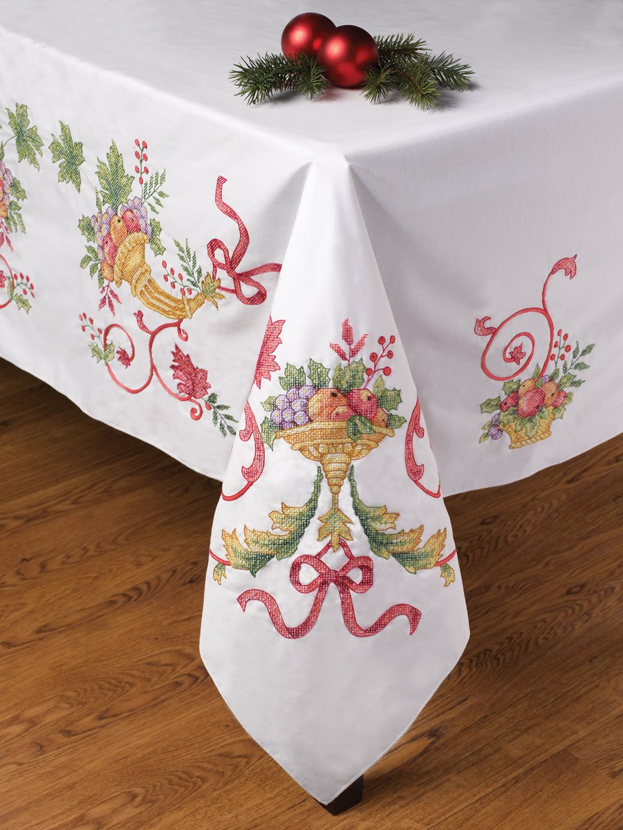 Cornucopia horn of plenty cross stitch table cloth design