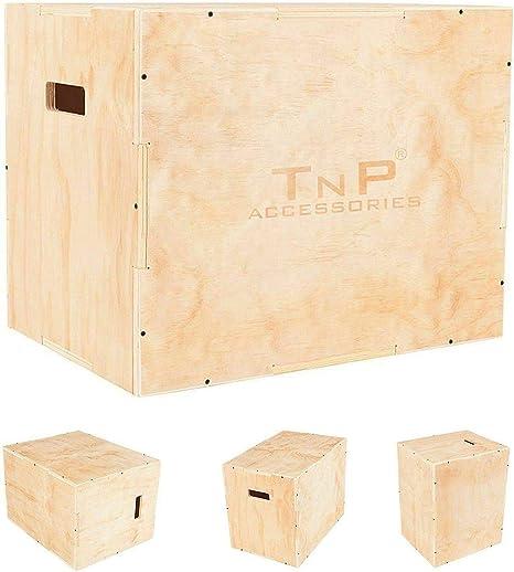 TnP Distribution - Caja de Salto de Madera pliométrica para Sentadillas y Crossfit, 45 cm x 40 cm x 35 cm: Amazon.es: Deportes y aire libre