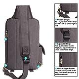 Canvas Leather Outdoor Sling Bag KAUKKO Cross Body