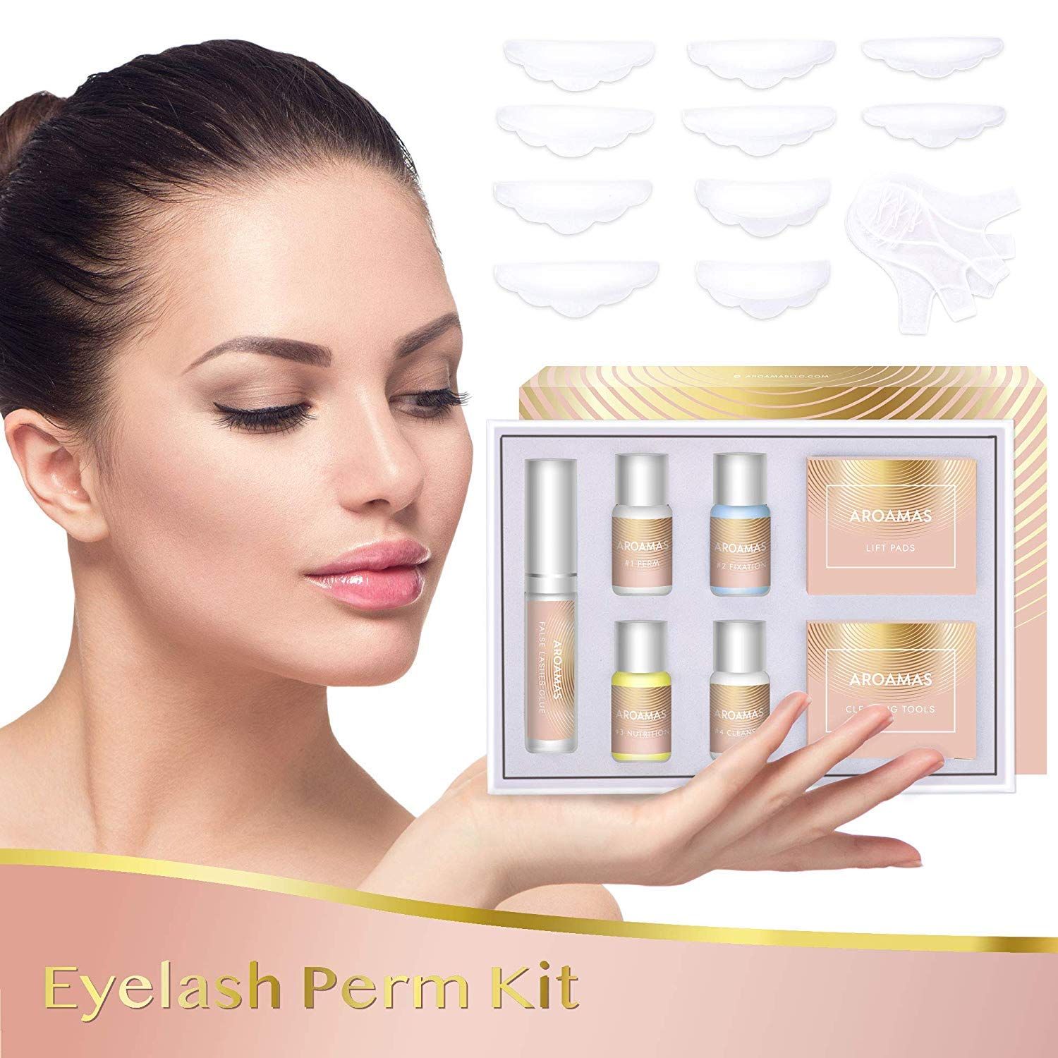 Aroamas Eyelash Perm Kit Full Eyelash Lift Kit - Professional Quality, Semi-Permanent Curling Perming Wave, Lotion & Liquid Set