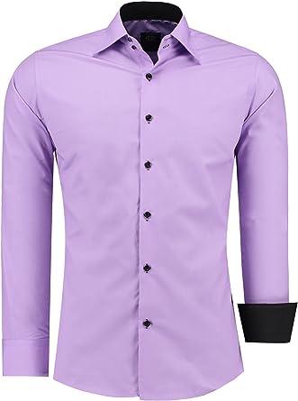 Camisa para hombre Jeel, Slim-Fit Basic, manga larga, moderna para ocio, bodas, negocios, fácil de planchar, no precisa planchado, tallas S-6XL morado ...