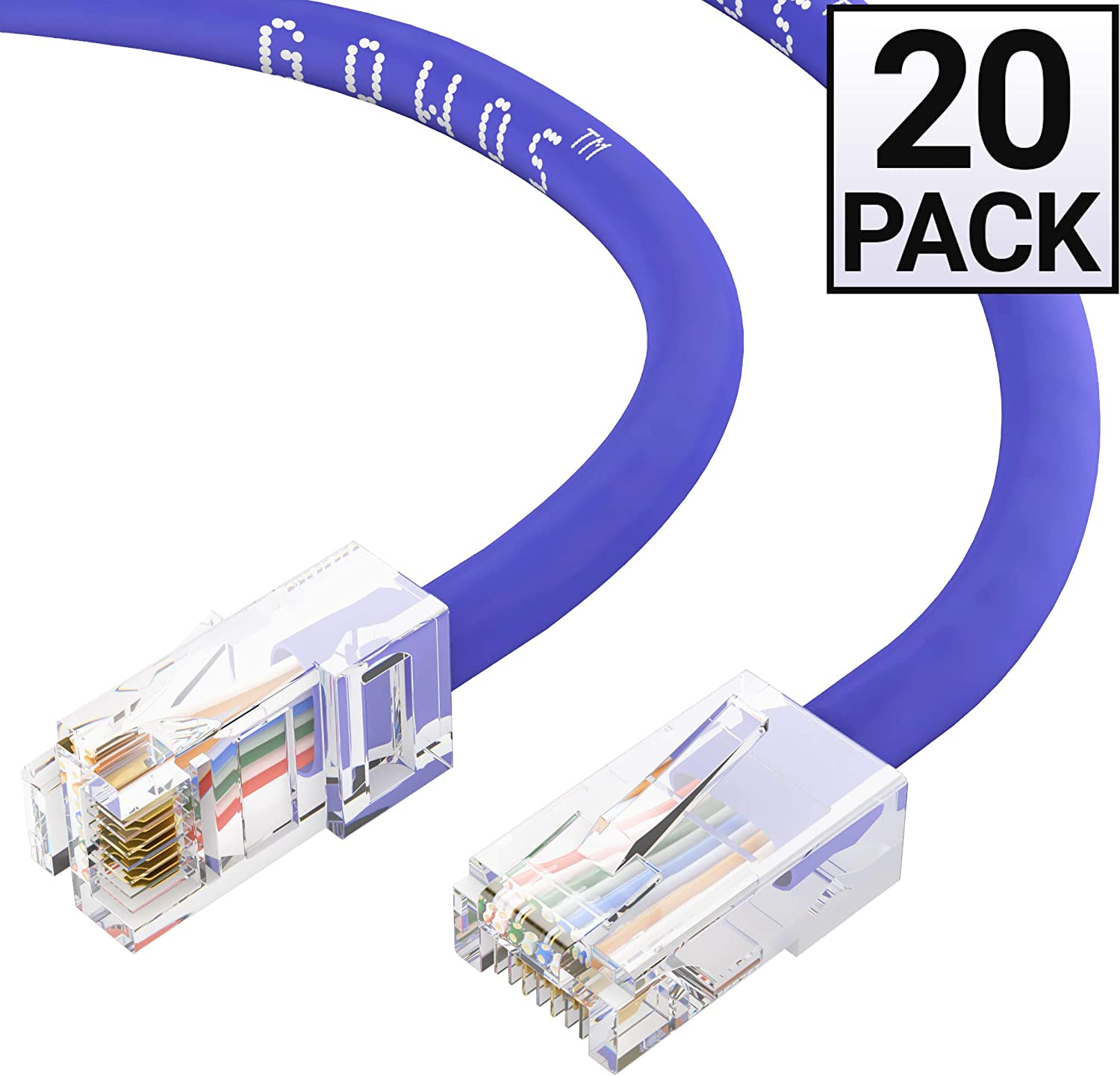 Cat6 Ethernet Cable Computer Network Cable with Bootless Connector GOWOS 50-Pack UTP Available in 28 Lengths and 10 Colors 2 Feet - Green RJ45 10Gbps High Speed LAN Internet Patch Cord