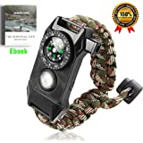 BAOBADO Premium Paracord Bracelet-Outdoor Emergency Survival Bracelet 5 in 1 with Compass,Flint Fire Starter,Emergency Scraper/Knife,Whistle,Rescue Rope-Perfect for Camping,Hiking,Trekking
