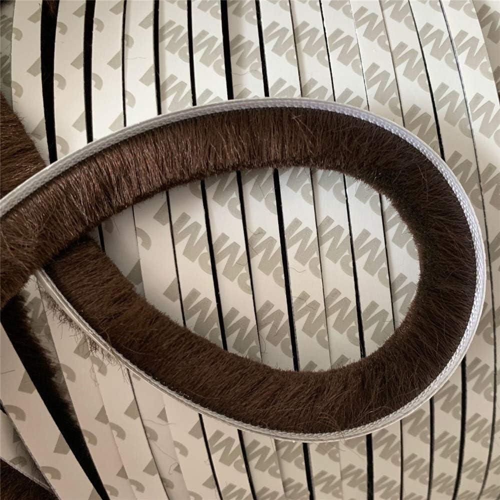 Ventana Puerta de puerta Marco Adhesivo Cepillo Sellos Insertar Pila de lana Burletes 7x12mm 10m Marrón