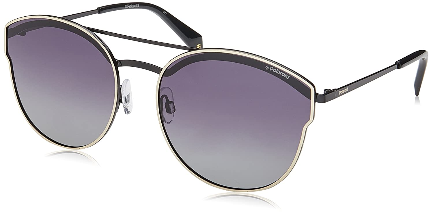 Double Bridge Sunglasses in Light Gold Violet Mirror Polarised PLD 4057/S 3YG 60 Polaroid