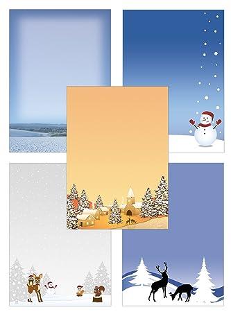 Weihnachten Winterdorf Rehe Set Motivpapier Briefpapier 20 Blatt A4 20 Kuverts
