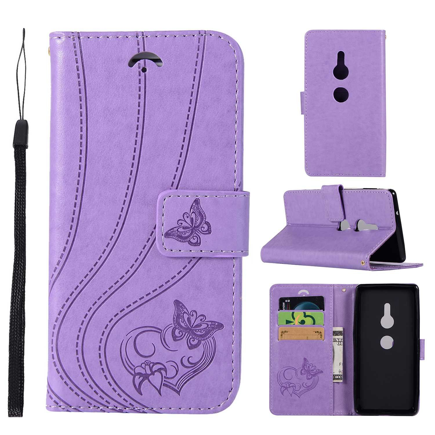 UNEXTATI Sony Xperia XZ2 Stand Magnetic Flip Cover Card Holders & Hand Strap Wallet Case with Kickstand for Sony Xperia XZ2 (Light Purple)