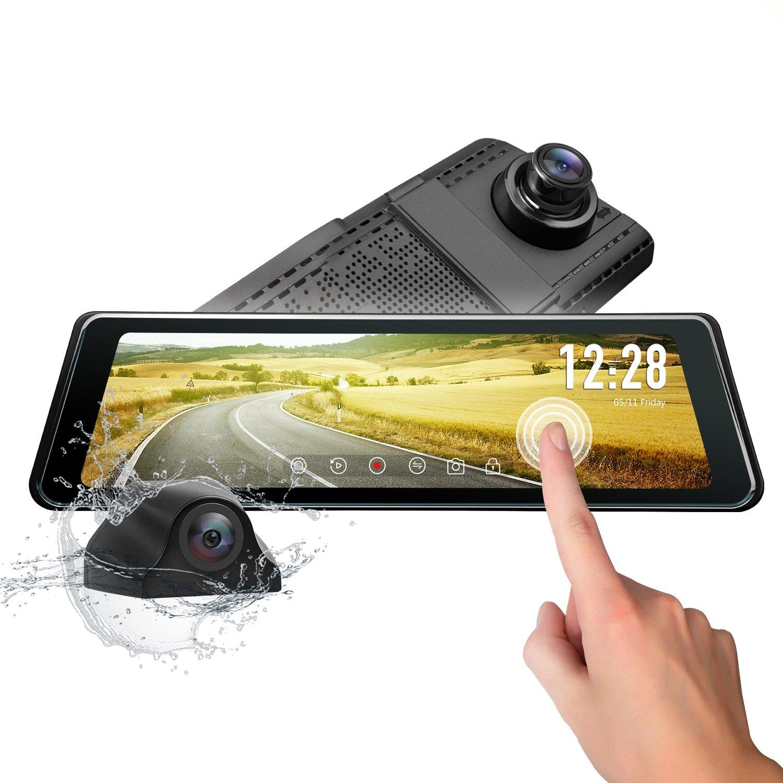 eonon 25.1cm 9.88' LCD dual Lens dash-Cam Stream Media da Backup Kit fotocamera Dash con telecamera AHD Specchietto retrovisore Parking Monitor G-sensor Registratore automatico Traccia GPS R0011
