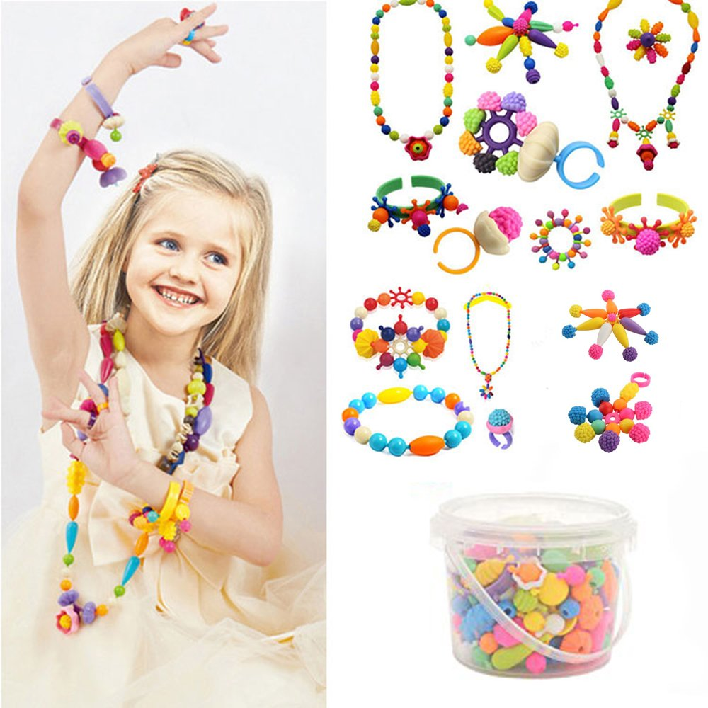 250 Pcs Arty Snap Beads Set with Storage Box, Creative DIY Jewelry Kit for Kids Toddlers Girls Handed Make Necklace Earrings Bracelets Rings,Idea Gift Toys for 4-12 Year Old Girl XFee Tech 4336811850