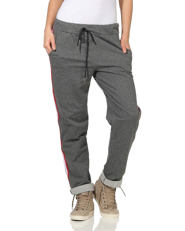 881414b1e2 ZARMEXX Pantalones para Mujer Pantalones de chándal de algodón con Rayas en  Contraste 85425 en el Interior de Novios Ocasionales con Cepillado Suave   ...
