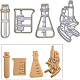 FULL SET of 4 cookie cutter designs for Laboratory themed party and science student graduation celebration, 4 pieces (test tube, conical flask, beaker, and microscope)