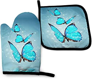 Foruidea Blue Butterfly Oven Mitts and Pot Holders Sets Kitchen Heat Resistant Oven Gloves for BBQ Cooking Baking Grilling Machine Washable (2-Piece Sets)
