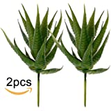 Supla 2 Pcs Textured Faux Succulent Pick, Spiky Green Haworthia Cactus,Artificial mini aloe,unpotted (green)