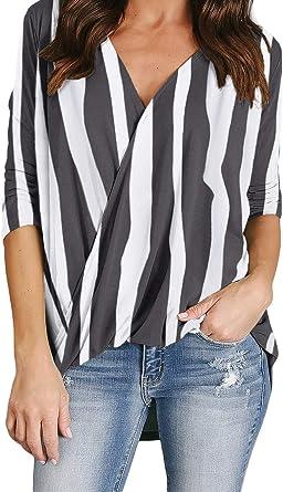 Camisa de Rayas Irregulares con Dobladillo Torcido y Cuello en V Camisa a Rayas de Manga Larga: Amazon.es: Ropa y accesorios