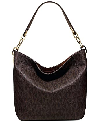Amazon.com  Michael Kors Fulton Medium Slouchy Shoulder Bag in Brown PVC   Clothing 2eda76eaf9034