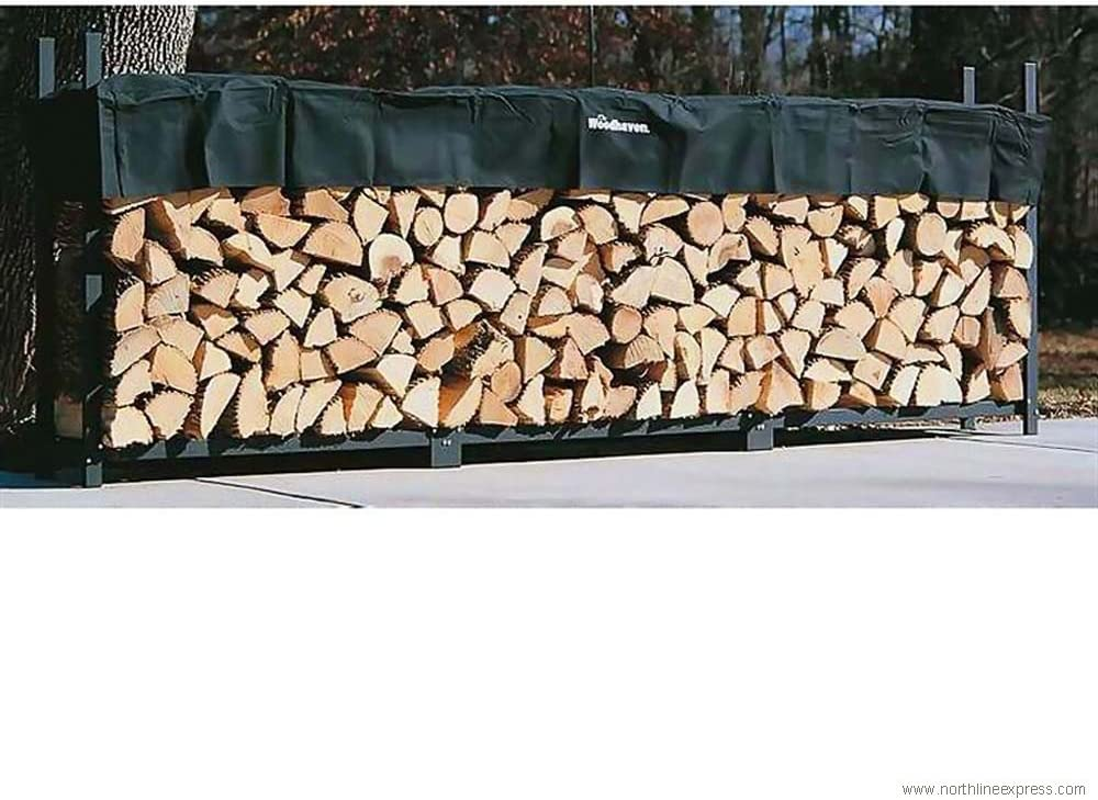 12ft Woodhaven Firewood Rack – Black