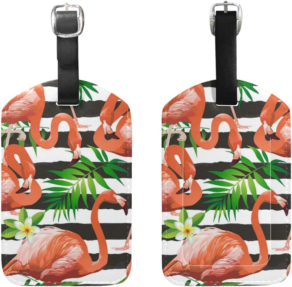 Aibileen Cute Animal Flamingo Stripe Palm Floral Luggage Tag for Baggage Suitcase Bag Leather 1 Piece