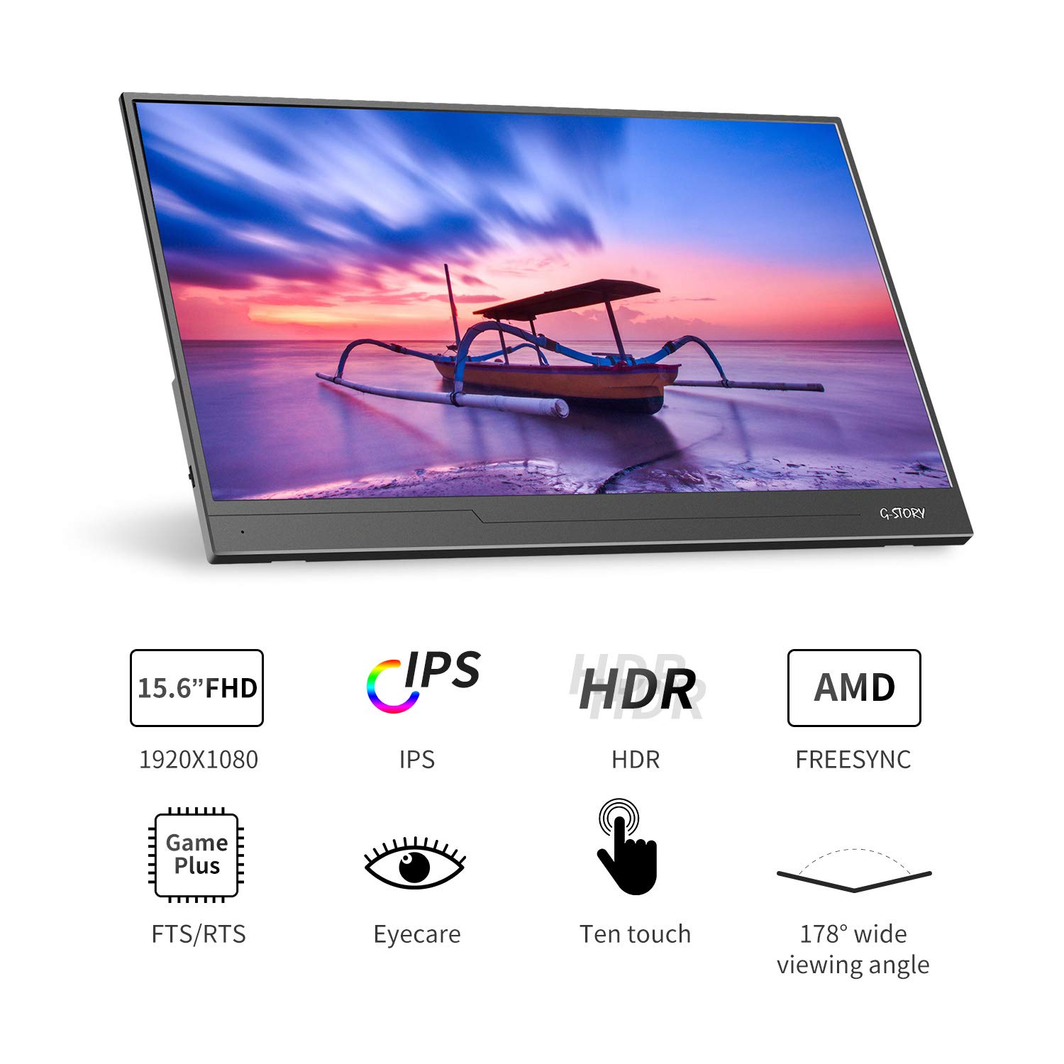 G-STORY 15.6 Inch Ultrathin Monitor NS Direct-Connected//Mini HDMI//Built-in Speakers//HDR//FreeSync//Type-C//60Hz//220cd//m2 FHD 1080P IPS Portable Monitor