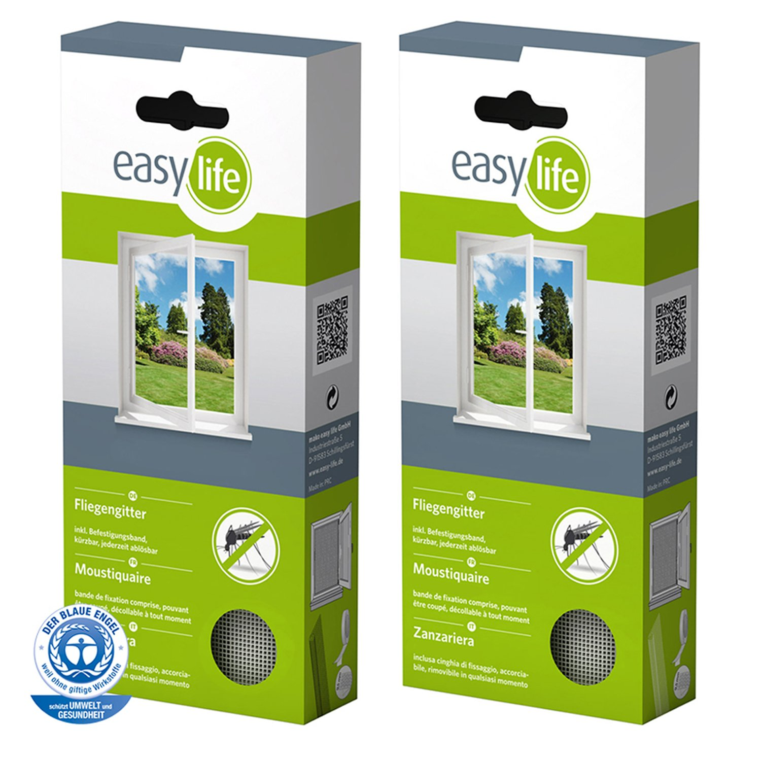 2 Set Fly screen windows- 100x100cm- White- Individually adjustable- Inkl. mounting tape