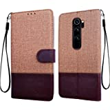 Febelo Case for Xiaomi Redmi Note 8 Pro | Magnetic Lock | Dual Color | Inside TPU with Card Holder | Wallet Stand 360 Degree Protection Flip Cover for Redmi Note 8 Pro (6.53 Inch)- Vintage Brown