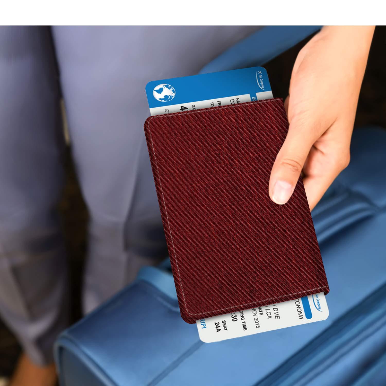 Fintie Reisepass Schutzh/ülle Kreditkarten Premium Stoff Passh/ülle Halter Brieftasche mit RFID Blockier f/ür Reisepass Visitenkarten Indigoblau