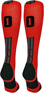 product image for MadSportsStuff Red and Black Player ID Custom Number Over The Calf Socks for Softball Baseball Football Boys and Girls