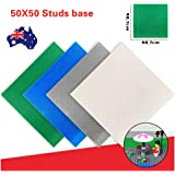 50x50 Studs Base Plate Board Building Blocks Brick Baseplate Compatible 40X40CM Classic Building Baseplate Compatible with Lego Brickyard Building Blocks, Perfect for Activity Table or Displaying Compatible Construction Toys (Blue)