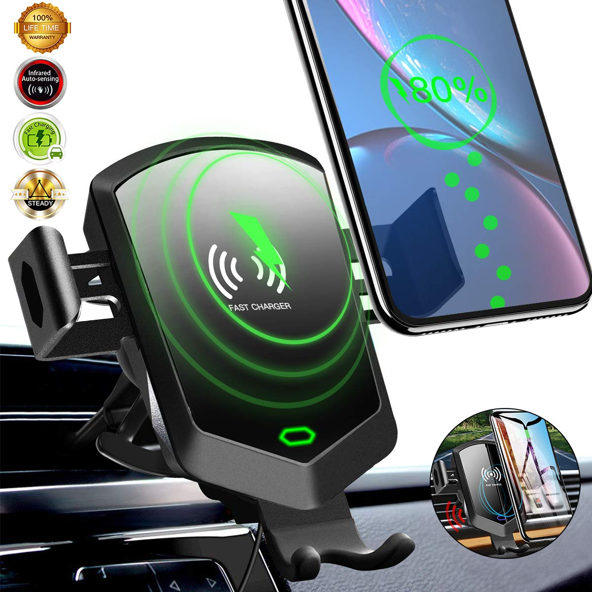 Wireless Car Charger Mount, Air Vent Phone Holder for Car,[10W Fast Charging][Auto Clamping] Car Phone Mount Fits for iPhone Xs/Xs Max/XR/8 Plus,Samsung Galaxy S10/S10+ S9/S8,and All Qi-Enable Devices