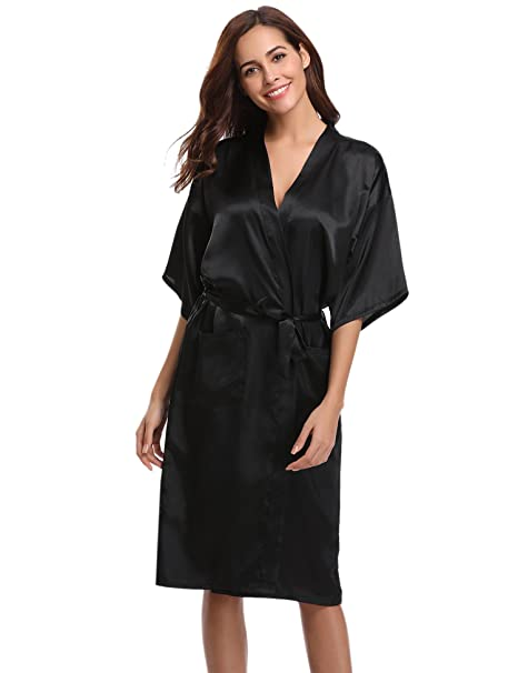376d49c439 Aibrou Women s Kimono Robe Long Dressing Gowns Classic Satin Silk Wedding  Bridal Bathrobes Nightwear Black