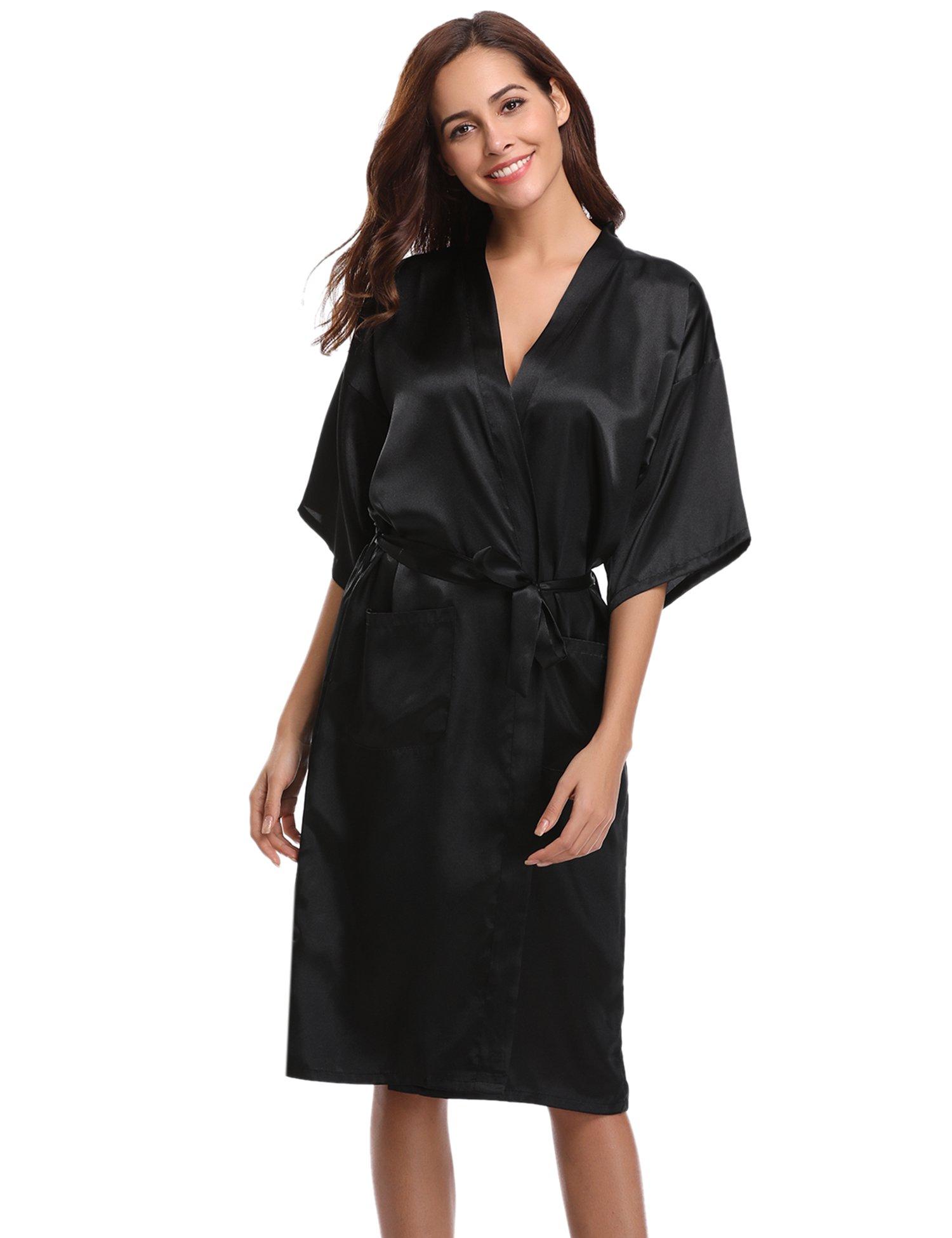Aibrou Kimono Mujer Batas Largas Lenceria de Aspecto Brillante product image