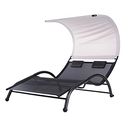 acompatible double chaise patio lounge chairs w canopy and pillows - Patio Lounge Chairs