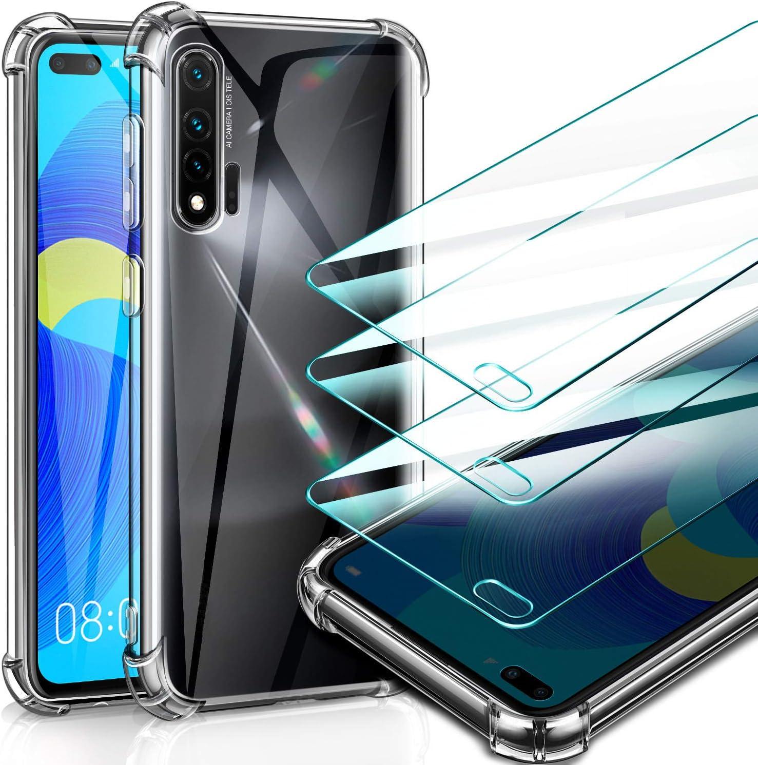 3 Pack Leathlux Samsung Galaxy A01 Case + Tempered Glass Screen Protector Ultra Thin Silicone Transparent TPU Case Airbag Anti-Shock Anti-scratch Cover Samsung Galaxy A01