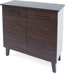 Christopher Knight Home Wilnona Modern 3-Shelf Faux Wood Cabinet with Sanremo Oak Interior, Walnut / Sonoma Oak / Black