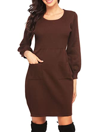 7f86b4518f OD lover Women s Knit Sweater Long Sleeve Crewneck Midi Sweater Dress With  Pocket