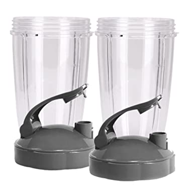 Preferred Parts Tall Replacement Cups for NutriBullet High-Speed Blender/Mixer   24 oz Nutribullet Cup with Flip Top To-Go Lid (Pack of 2)