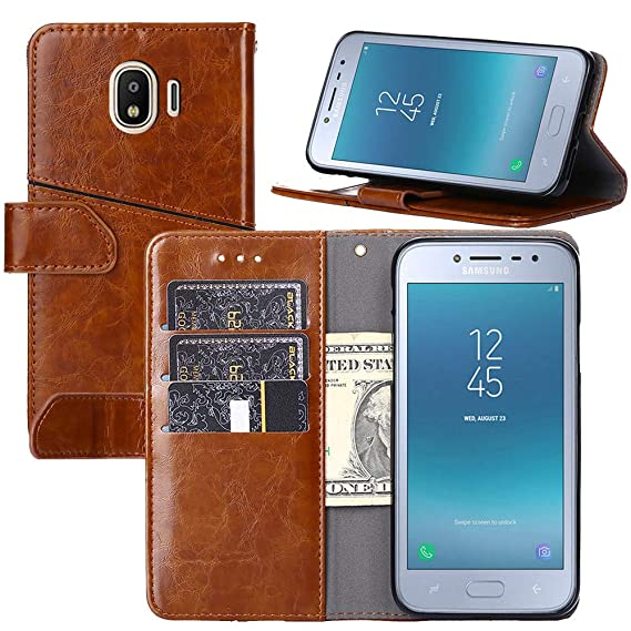 buy online 7f5c8 7b663 Galaxy J2 Pro 2018/Grand Prime Pro Case,YEEGG Flip Cover Leather, Phone  Wallet Case for Samsung Galaxy J2 Pro 2018 (Brown)
