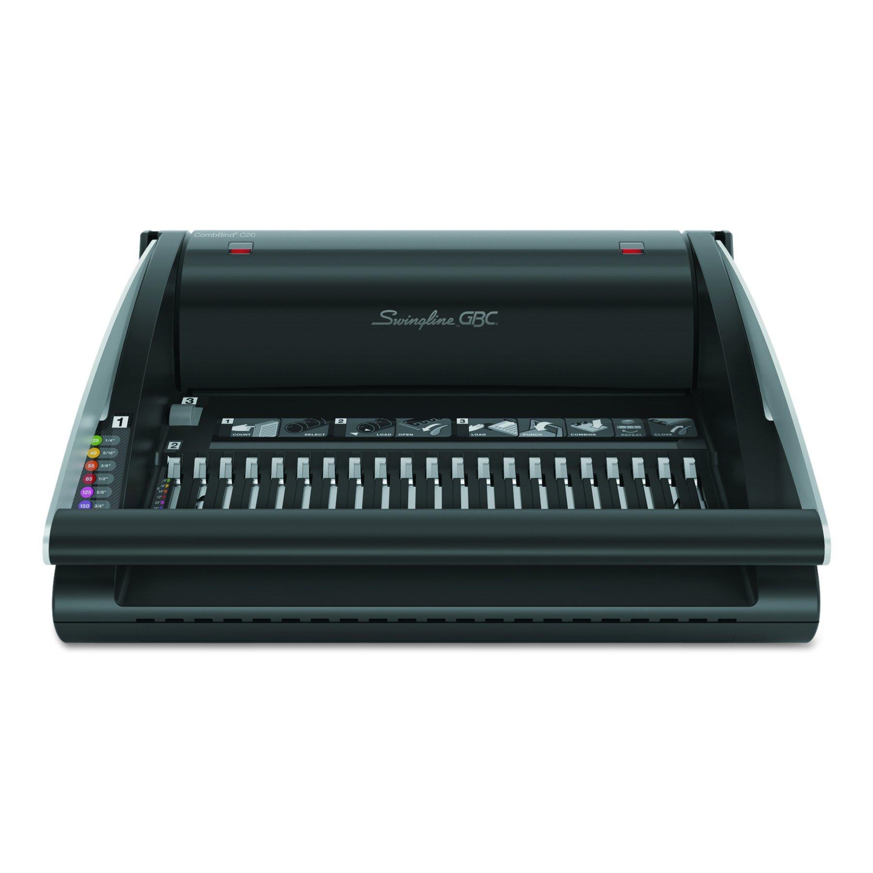 Swingline GBC Binding Machine, 20 Sheet Punch Capacity, 320 Sheet Binding Capacity, CombBind C20 (7706172)