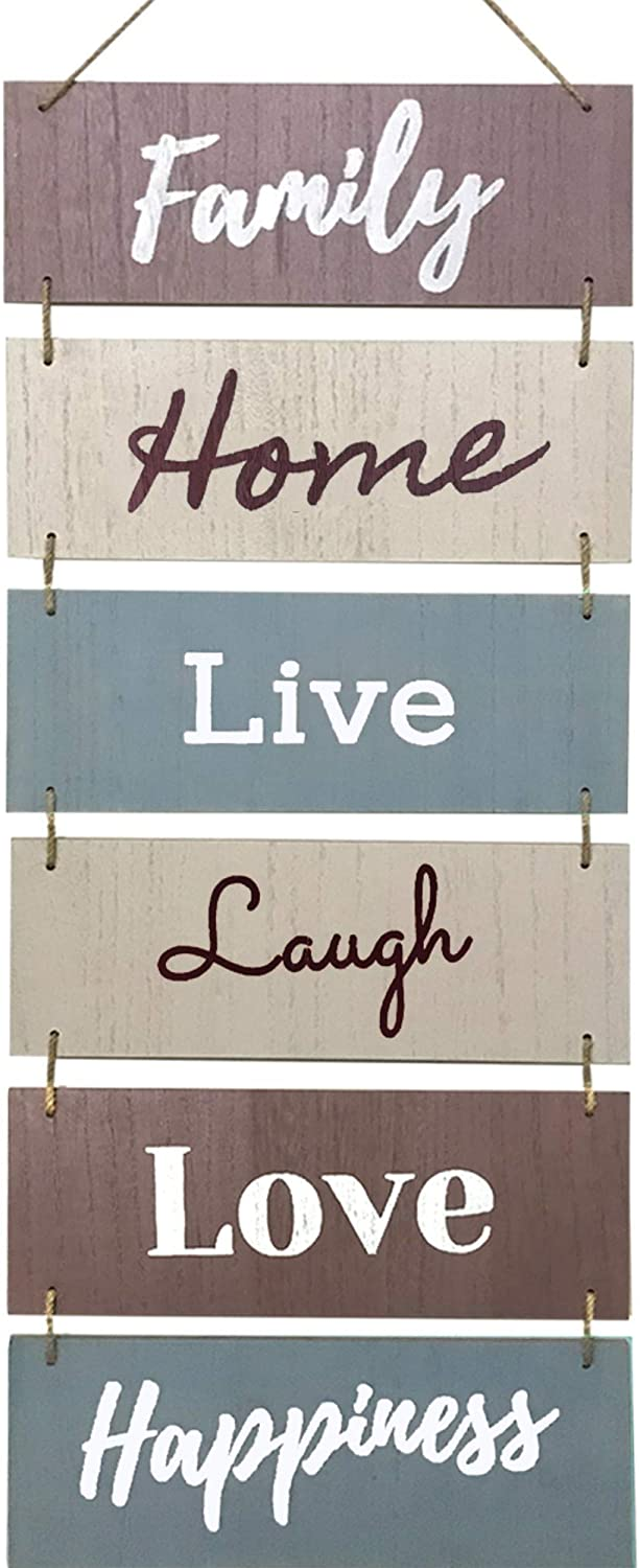 Hanging Wall Décor Sign - Welcome Vertical Wall Art Decorations, Rustic Home Accessories for Living Room, Bedroom, Family, Dining, and Kitchen, Outdoor Signs for House, Live, Laugh, Love Plaques