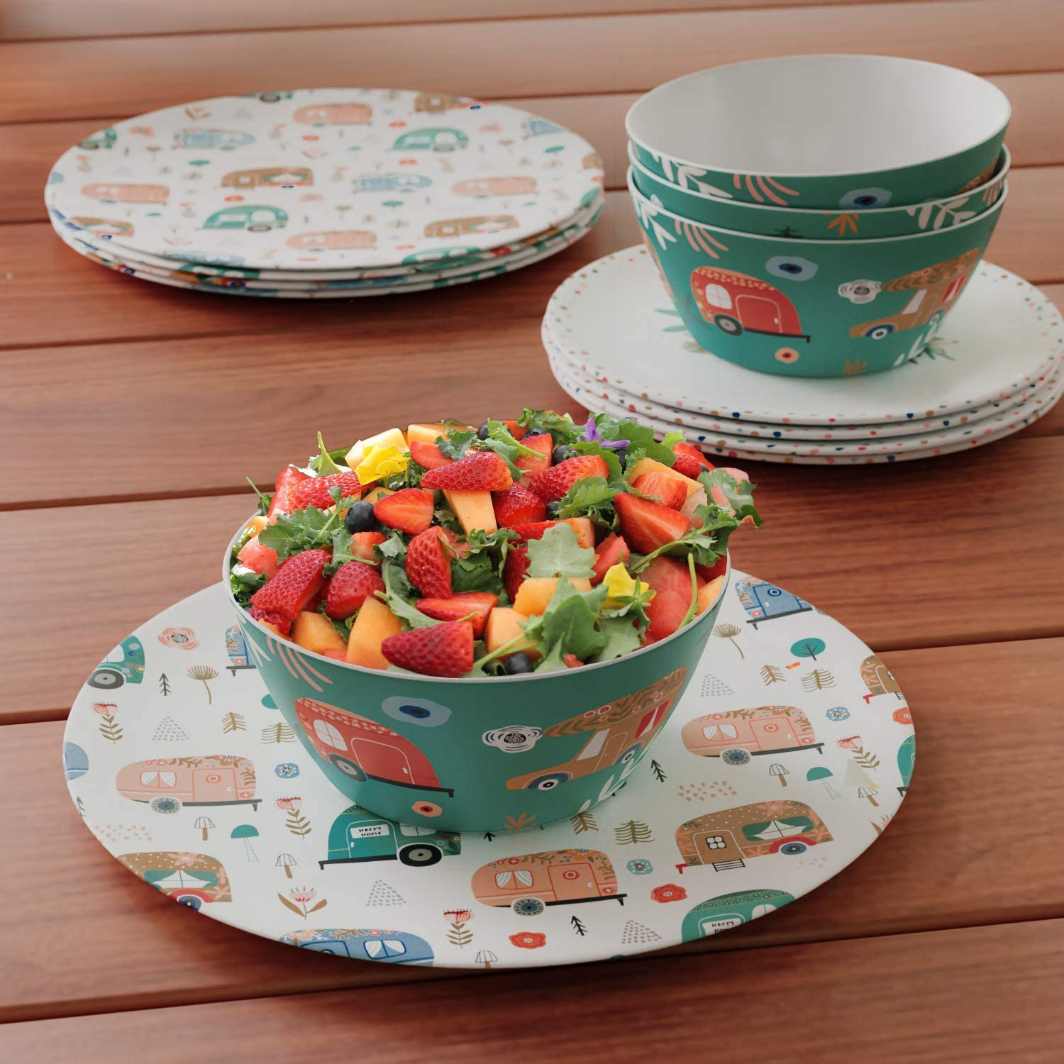 Picnic and reuseable Bamboo Side Plate Set of 4 Ideal for Children and Adults Perfect for Parties