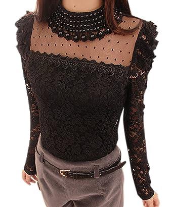 160c7f3ca1c8b0 cooshional Damen Shirt Bluse mit Spitze Langarmshirt Spitzenshirt Top Hemd  Oberteil: Amazon.de: Bekleidung