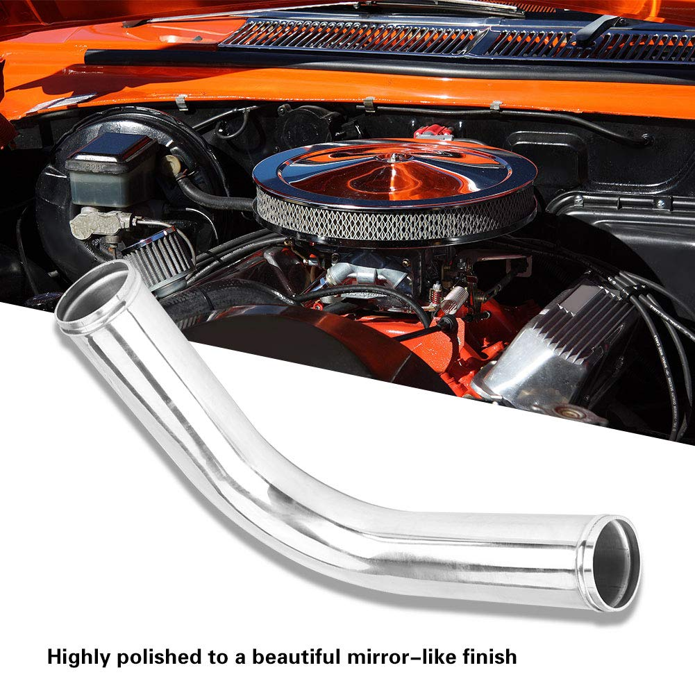 Turbo Universal 90 Degree Elbow Intercooler Aluminum Pipe with 2 Silicone Hose 4 Clamps 70mm