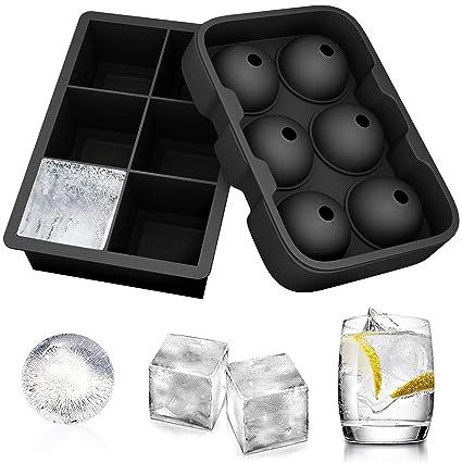 CUNXIA Conjunto de 2 Silicone Cubo de Gelo bandejas, Rodada mostrador quadrado Bola de Gelo