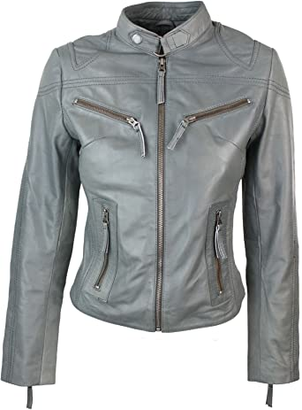 100/% Ladies Real Leather Jacket Fitted Bikers Style Vintage White Rock