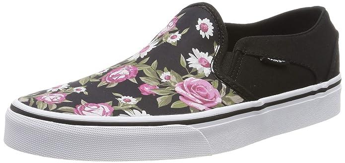 Vans Asher Damen Slip On Schuhe Schwarz mit Rosen