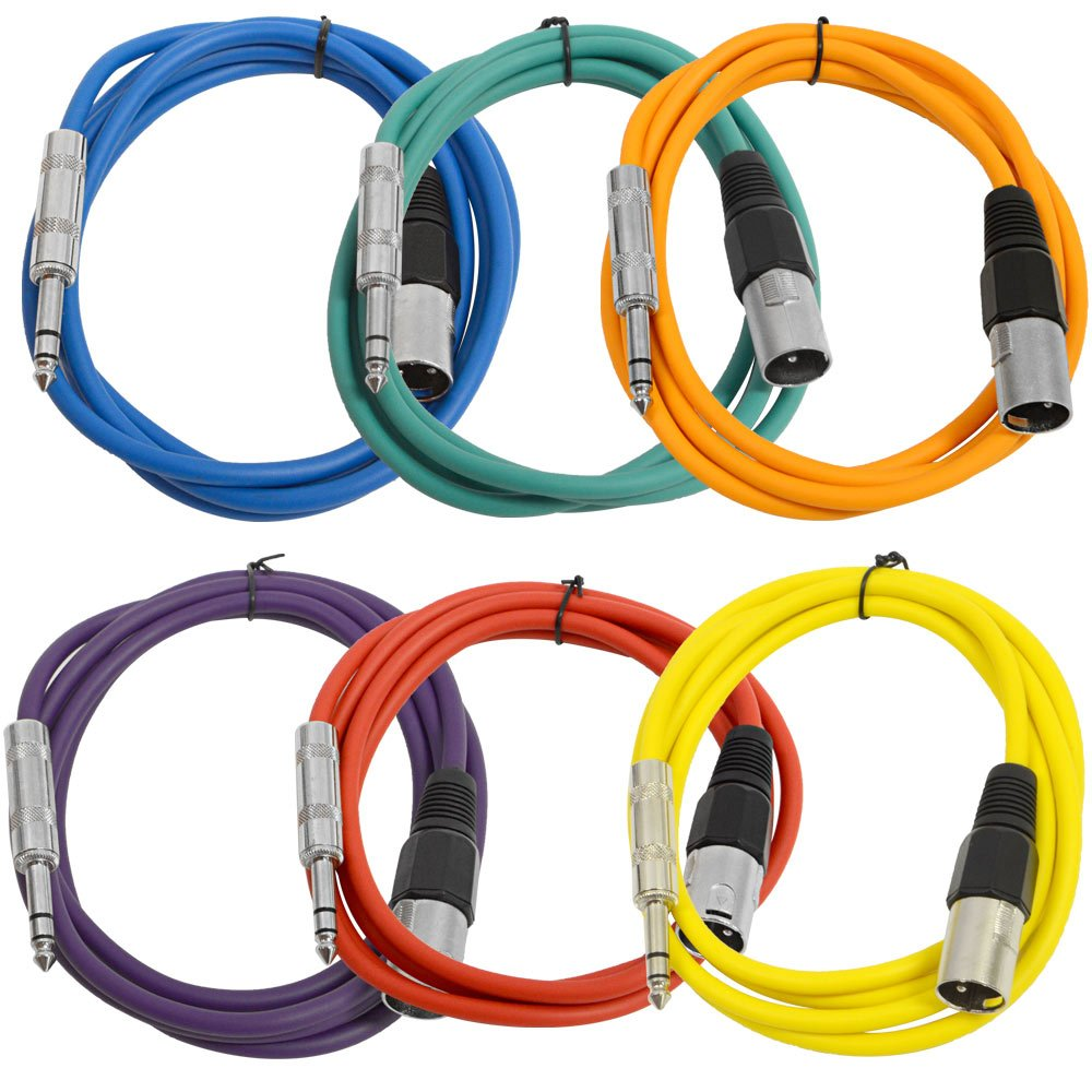SEISMIC AUDIO - SATRXL-M6-6 Pack of Muliple Colored 6' XLR Male to 1/4'' TRS Patch Cables