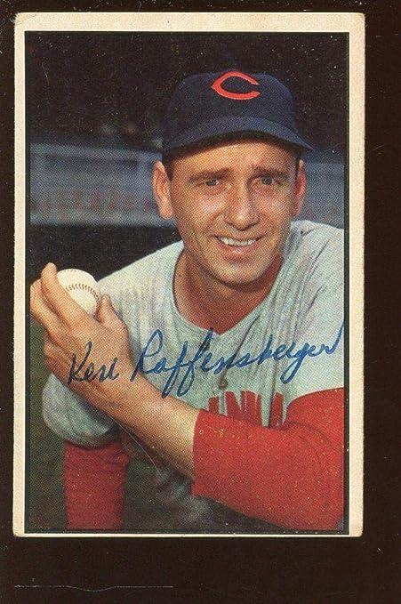 1953 Bowman Color Baseball Card 106 Ken Raffensberger Autographed