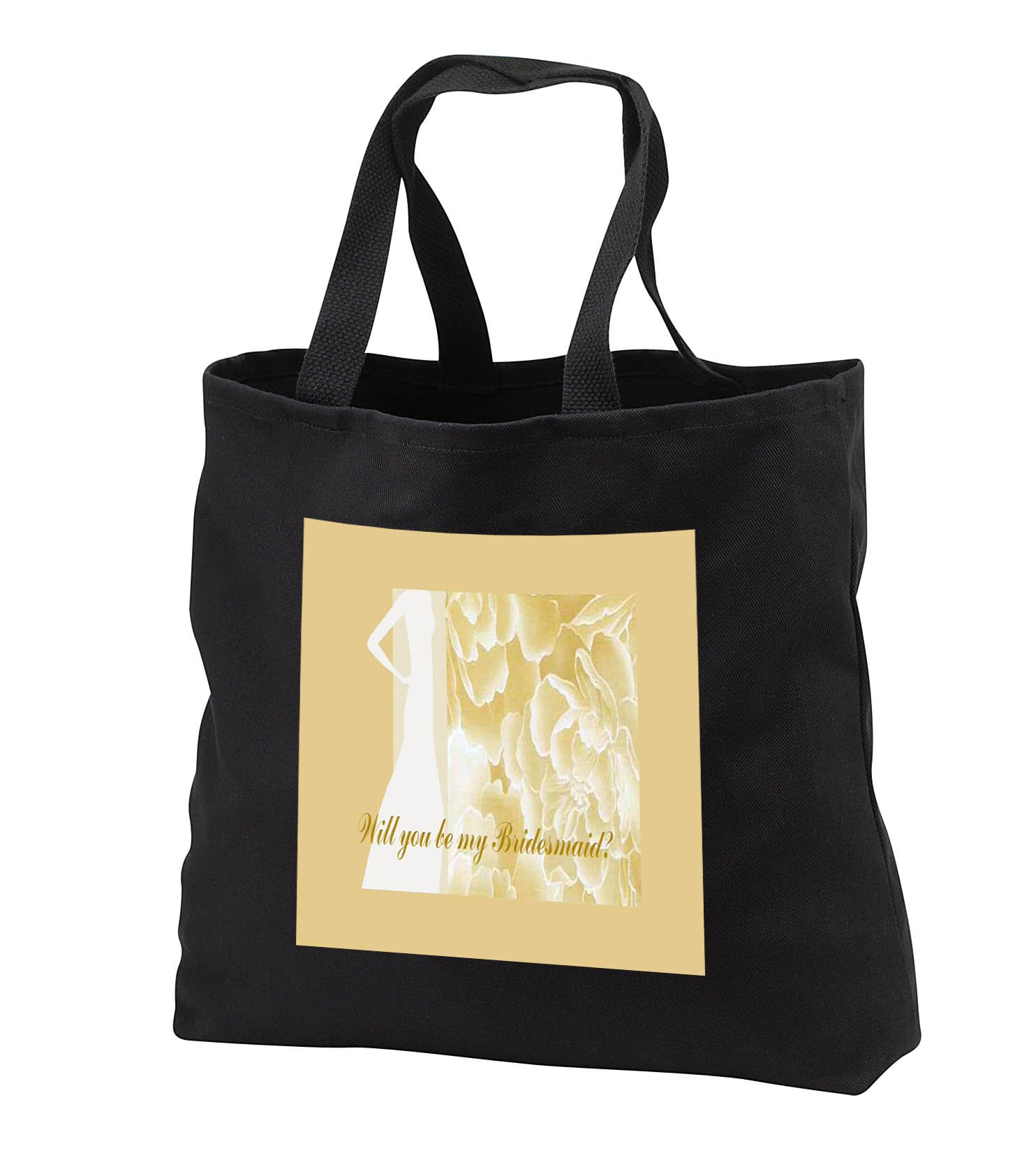 Beverly Turner Wedding Bridal Party Design - Bridesmaid Request, Lady in White Dress, Yellow Flowers - Tote Bags - Black Tote Bag JUMBO 20w x 15h x 5d (tb_282209_3)