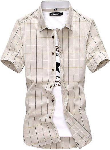 Only Shopping Can Heal Me Camisa de Manga Corta para Hombre, diseño de Cuadros, 100% algodón, para Verano, Informal, Beige - 5X-Large: Amazon.es: Ropa y accesorios